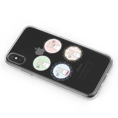 Lopard iPhone Xs Max Kılıf Silikon Arka Koruma Kapak Gülen Tavşanlar Desenli Renkli